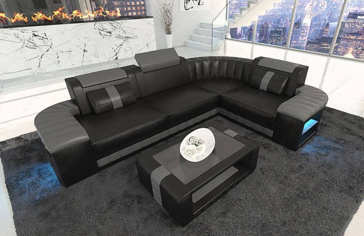 Design Leather Sofa Philadelphia L Shape With Led Lights