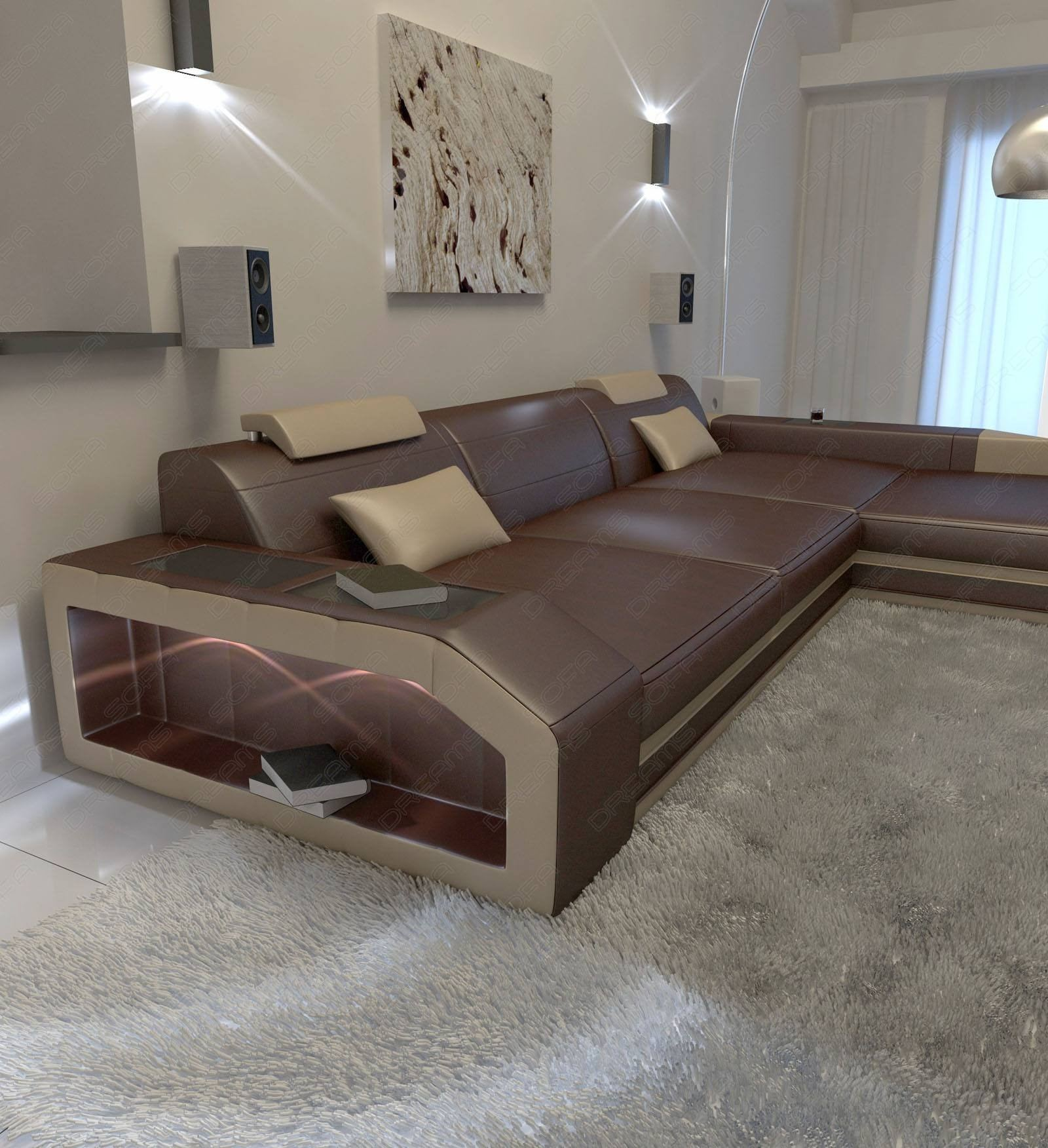Leather Sectional Darkbrown And Sandbeige