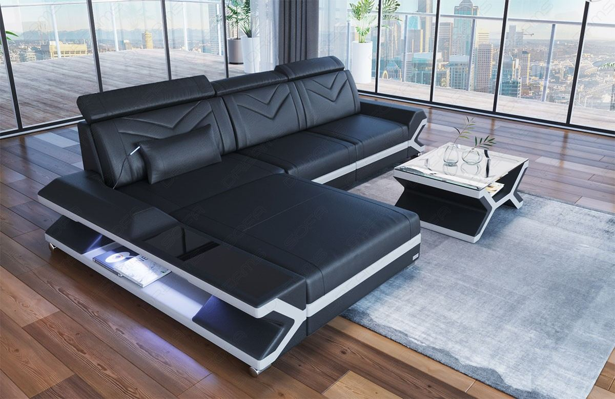 Magnificent Modern Leather Sofa San Francisco L Form As Modern Corner Sofa With Bed Function And Led Light Spiritservingveterans Wood Chair Design Ideas Spiritservingveteransorg