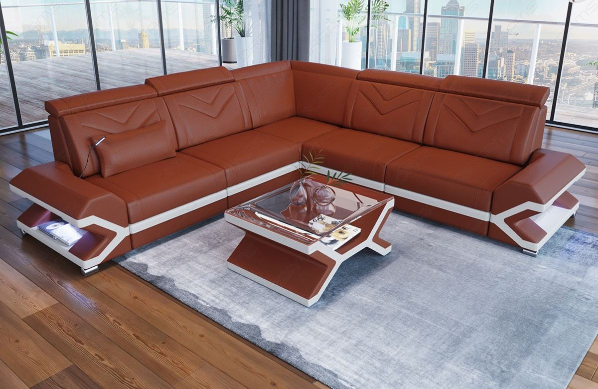 Amazing Modern Leather Sofa Sacramento L Form With Leather Cover And Led Lighting Theyellowbook Wood Chair Design Ideas Theyellowbookinfo