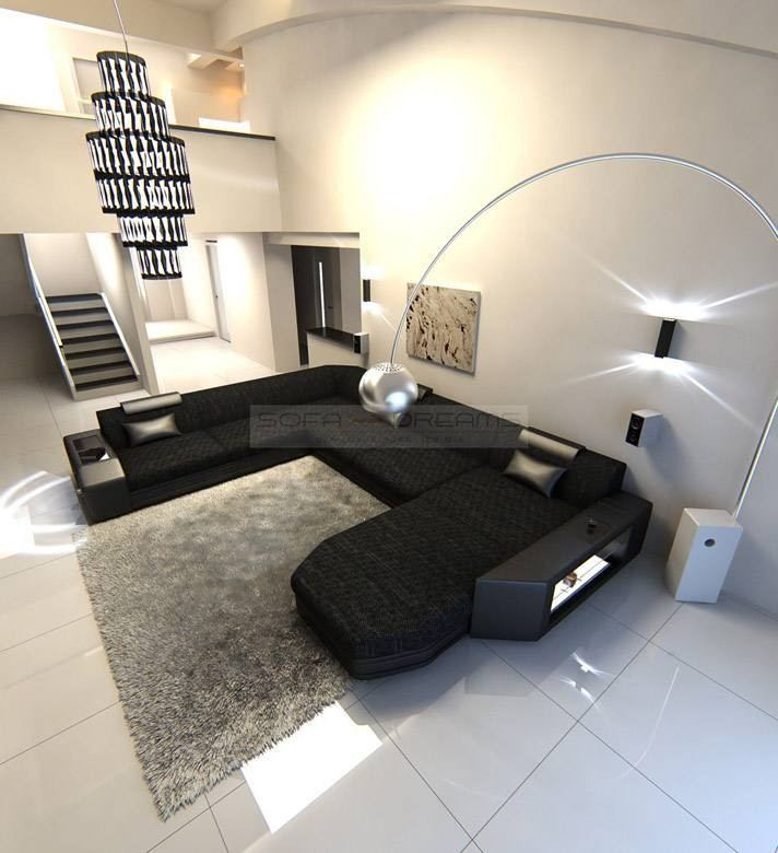 Modern Fabric Sofa Dallas Xl With Led Lights