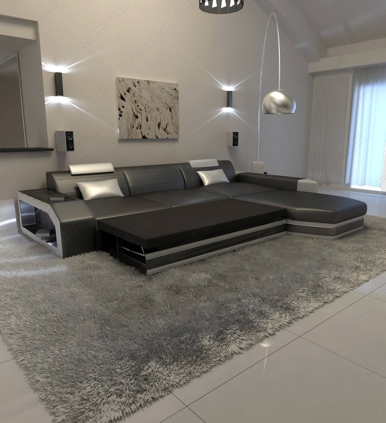 Modern L Shaped Sofa Dallas with LED Lights
