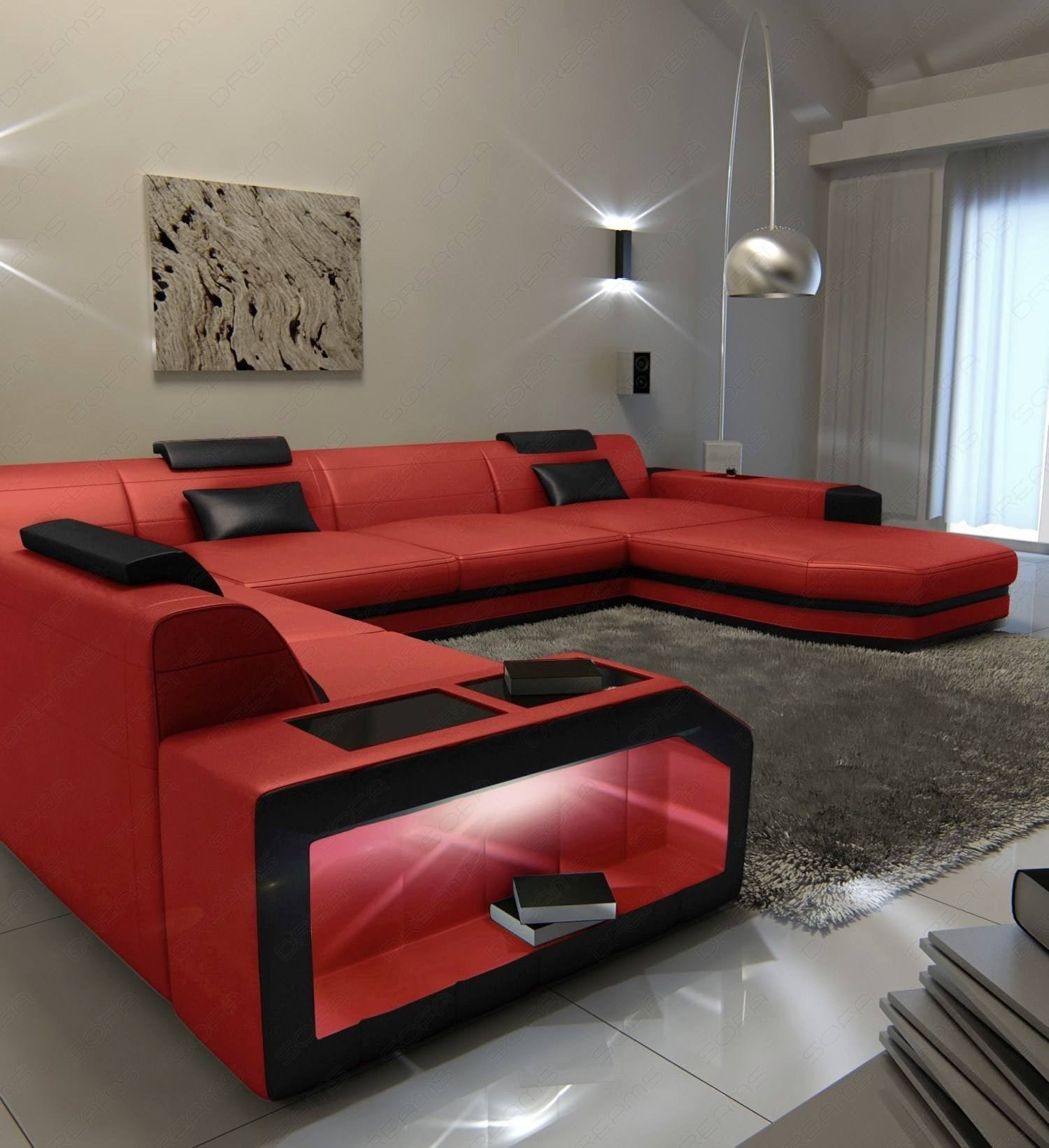 Modern U Shaped Sofa Dallas XL With Lights