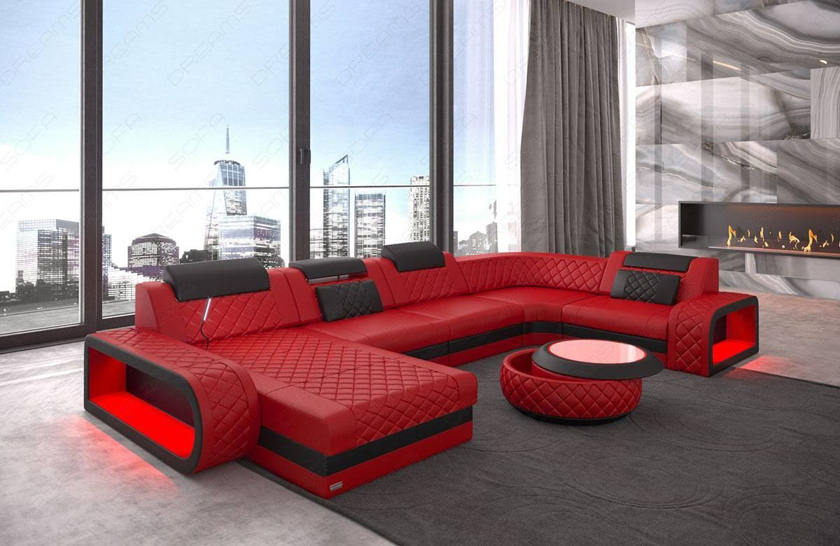 Attirant Luxury Sectional Sofa Chesterfield Optik Charlotte U Form   Leather Red
