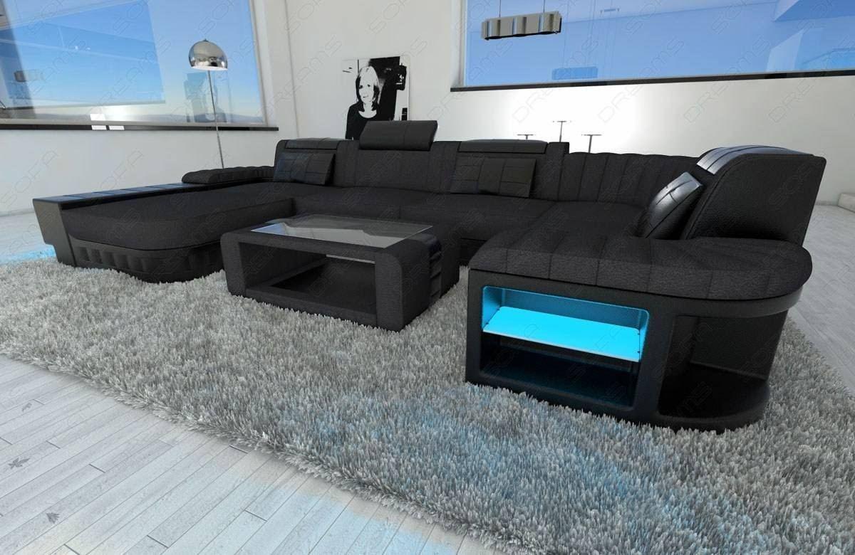 Superb Big Fabric Sectional Sofa Boston U With Led Beutiful Home Inspiration Aditmahrainfo