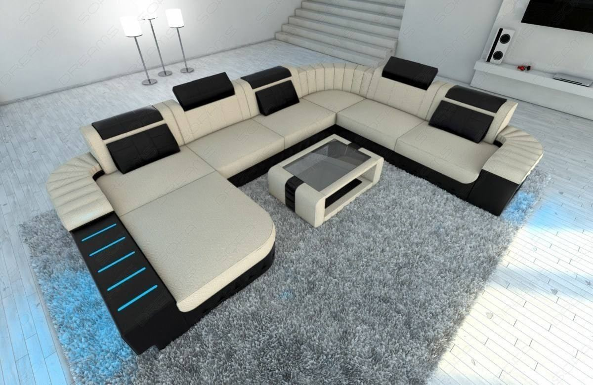 Modern Fabric Sofa Boston Xl With Led Lights
