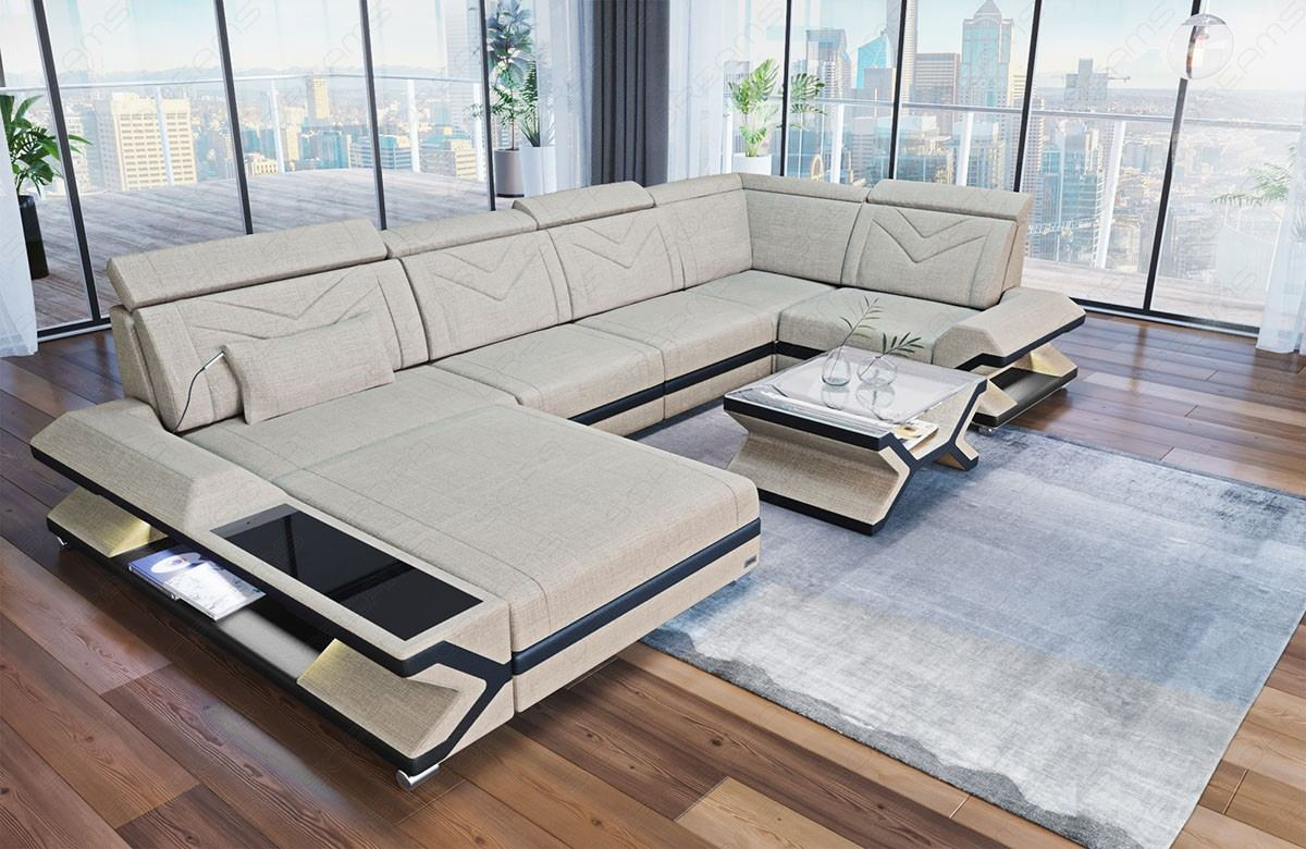 Modern sofa San Francisco in u shape with fabric as upholstery cover and  lighting