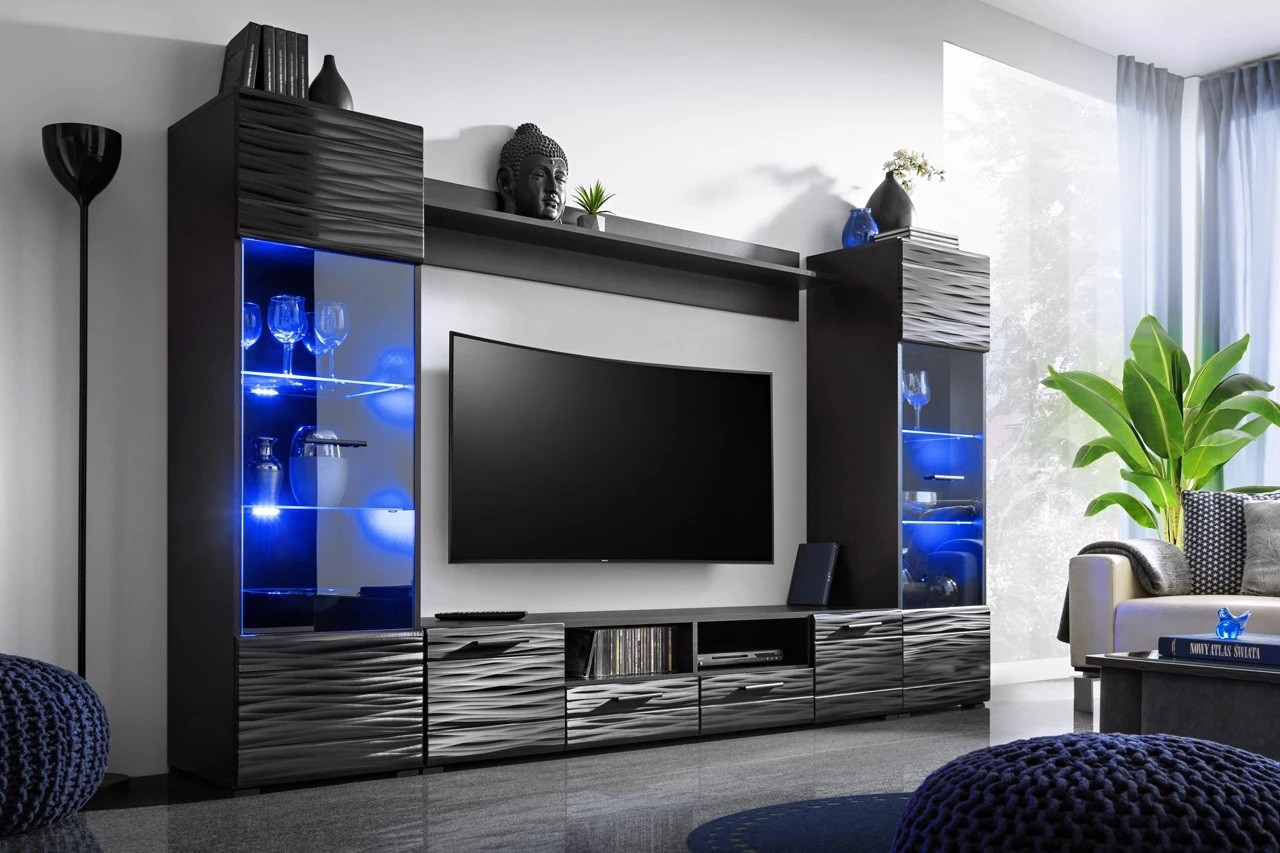 Wall Unit Aruba Black Wall Units Living Room Furniture