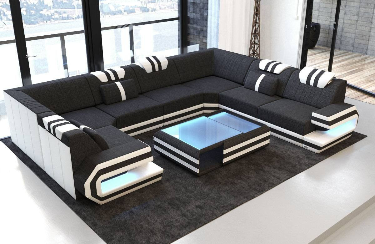 Fabric Design Sofa San Antonio U shape with LED