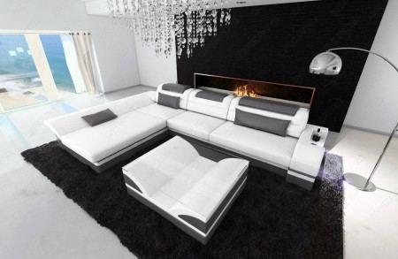 Modern Corner Sofa Atlanta LED L- Shaped