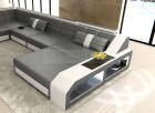Living Room Couch with Chaise and LEDs Houston XL grey-white