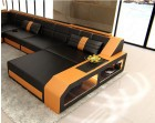 Living Room Couch with Chaise and LEDs Houston XL black-orange