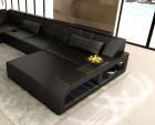 Design Sectional Sofa Houston XL with LED Lights black