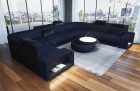 Sofa with LED lighting Phoenix L Microfibre dark blue Mineva 17