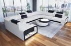 Sectional leather sofa Phoenix L Shape white-black