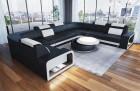 Leather Sectional Sofa Phoenix U Shaped black-white