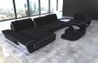 Fabric luxury sofa modern with lights and functions dark-grey Hugo 13