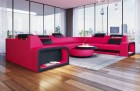 Luxury Leather Couch Phoenix L Shape pink-black