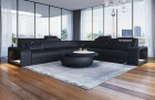 Sofa with LED lighting Phoenix L Shape black