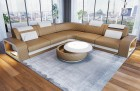 Sectional leather sofa Phoenix L Shape sandbeige-white