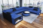 Velvet Sofa with LED lighting Chesterfield Look blue Sun Velvet 1027