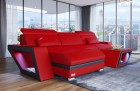 Luxury Leather Couch Nashville L Shape red-black