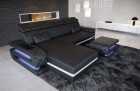 Sectional Leather Sofa Gainesville L Shape black-white