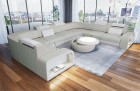 Sectional leather sofa Phoenix L Shape beige-white