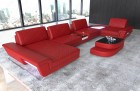 Sectional sofa with backrest function and LED lights red-black