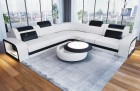 Leather Sofa Phoenix L Shape white-black