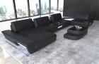 Modern genuine leather sofa with backrest function black