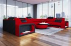 Red Sofa with LED lighting and LED lights U Shaped Phoenix Mineva 20