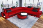 Luxury Leather Couch Phoenix L Shape red-black