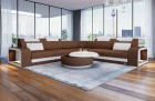 Fabric Sectional Sofa Phoenix L with Lights in brown Mineva 5