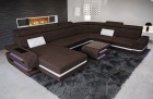 Woven Fabric Sofa with storage space and LEDs dark-brown Hugo 10