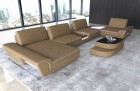 sectional sofa modern with backrest function fabric microfibre cappuccino Mineva 6