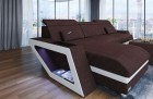 Brown Sofa with Chaise and LED lights U Shaped Woven Fabric Hugo 10