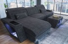 XL Sectional Couch Nashville L with Lights darkgrey Hugo 12