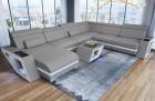 Sofa with Chaise Nashville U Microfibre light-grey Mineva 12