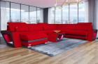 Modern Sofa with Chaise and LED lights U Shaped red Mineva 20
