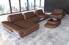 Fabric sectional sofa modern with lights microfibre light-brown Mineva 5