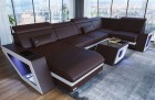 Leather Sectional Sofa Nashville U Shaped darkbrown-white