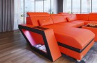 Luxury Leather Couch Nashville U Shape orange-black