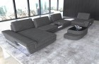 Fabric sectional sofa modern with lights and functions grey Hugo 5