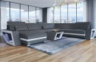 XL Sectional Sofa Nashville with Lights and Chaise grey-white
