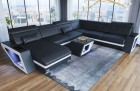 Sofa with Chaise Nashville XL black-white