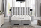 Boxspring Bed Las Vegas in synthetic leather - grey