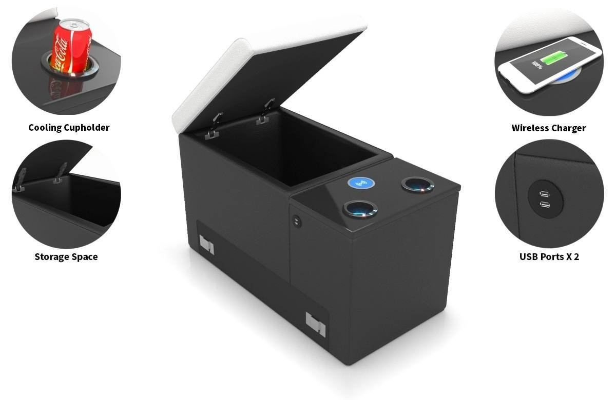 Storage element with cooling cup holder and wireless phone charger