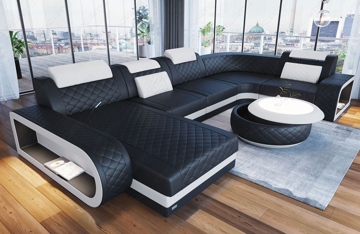 Luxury sectional sofa Chesterfield Optik Charlotte U Form in black - white Leather