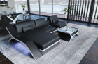 Leather Sectional Sofa Malibu L shape black-white with Smart Space Control